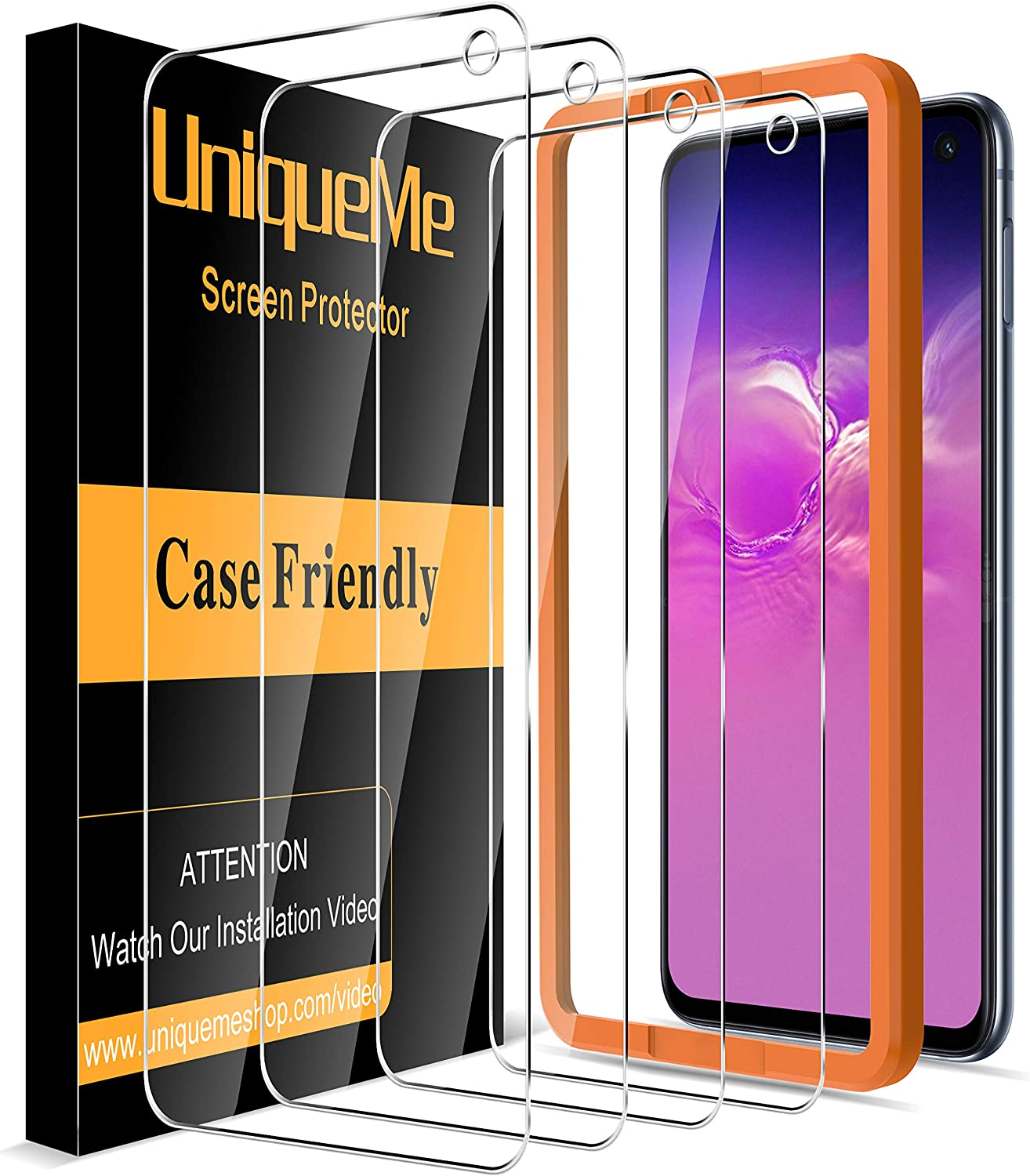[4 Pack] UniqueMe Compatible with Samsung Galaxy S10e Screen Protector,[Japan Tempered Glass] 9H Hardness