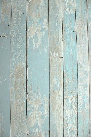 Vlies Tapete Antik Holz Rustikal Blau Turkis Beige Verwittert