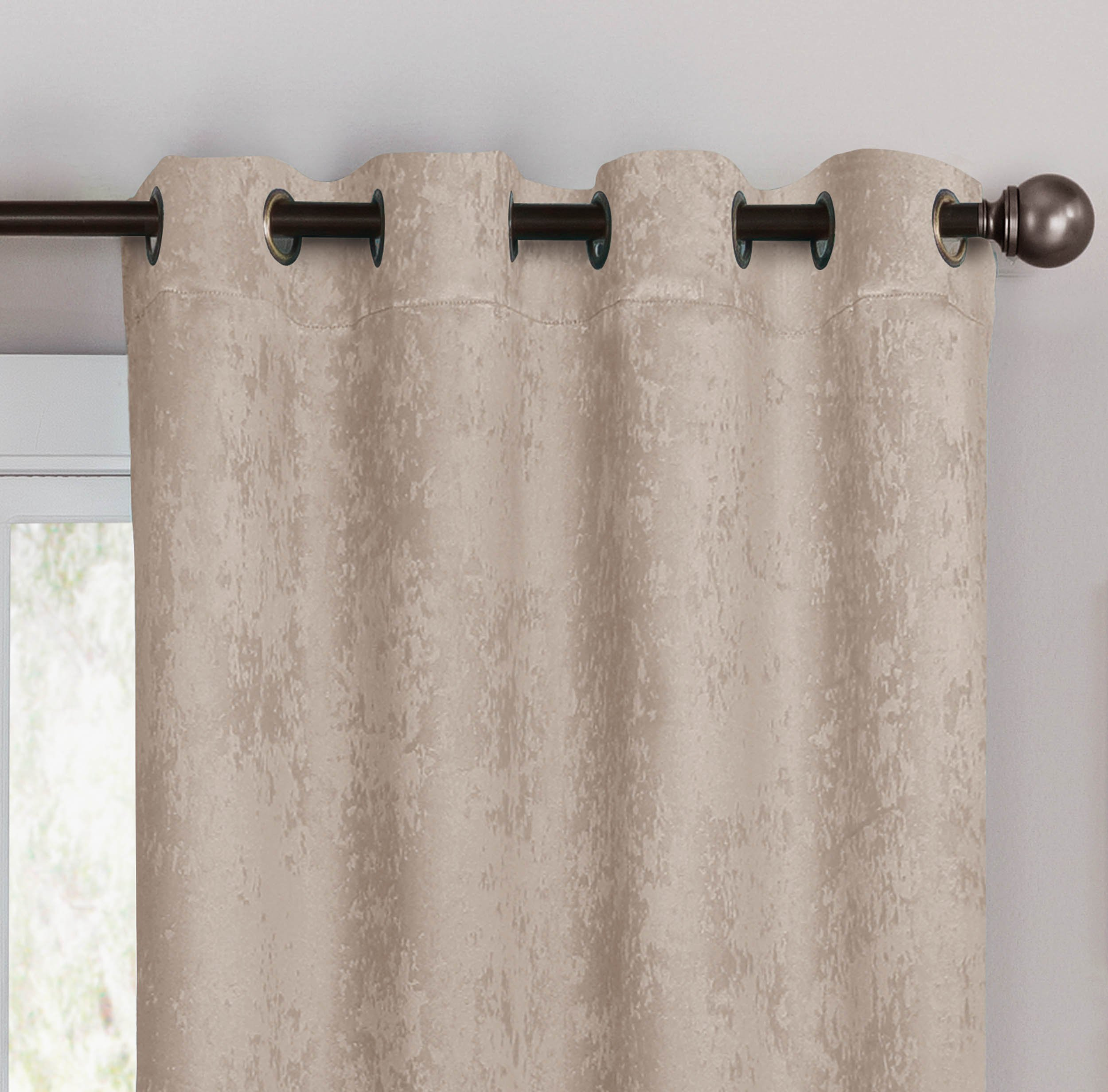 Bella Luna Faux Suede Room Darkening Extra Wide 108 x 84 in. Grommet Curtain Panel Pair, Taupe - Pair includes (2) 54 in. x 84 in. curtain panels (total width coverage: 108 in.) Each lined extra-wide panel features (8) gunmetal-colored grommets Room-darkening thermal lining is energy saving, light blocking and noise reducing - living-room-soft-furnishings, living-room, draperies-curtains-shades - 81gOtzewAAL -