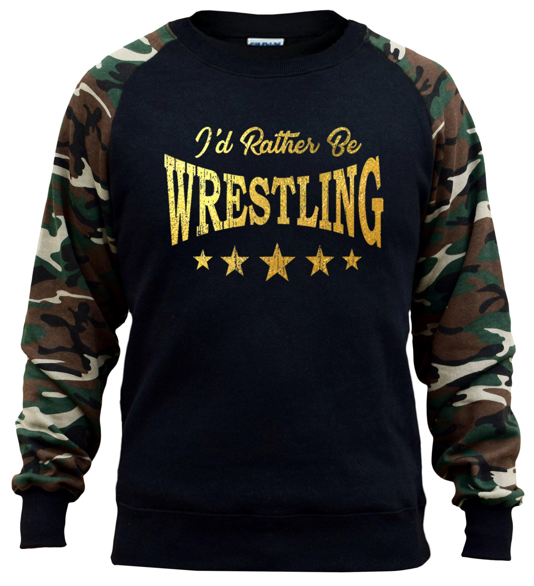 Interstate Apparel Men's Gold Foil I'd Rather Be Wrestling Black/Camo Raglan Baseball Sweatshirt 2X-Large Black