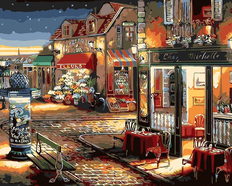 Fuumuui Lienzo de Bricolaje Regalo de Pintura al óleo para Adultos niños Pintura por número Kits Decoraciones para el hogar-Café y Tienda de Flores 16 * 20 Pulgadas