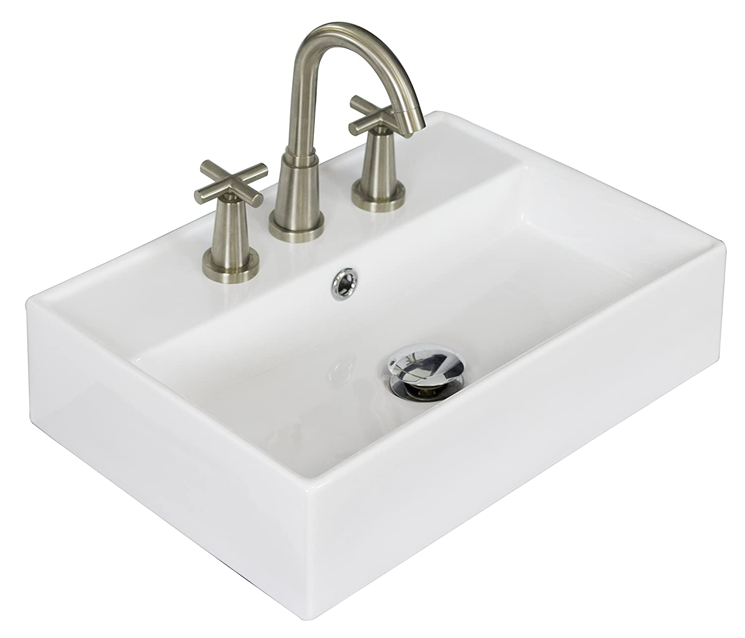 American Imaginations AI-8-1330 Above Counter Rectangle Vessel for 8-Inch OC Faucet, 20-Inch x 14-Inch, White