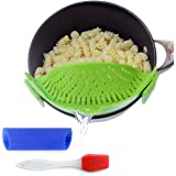 Clip-On Kitchen Food Strainer for Spaghetti, Pasta, & Ground Beef Grease, Colander & Sieve Snaps on Bowls, Pots and Pans, Set