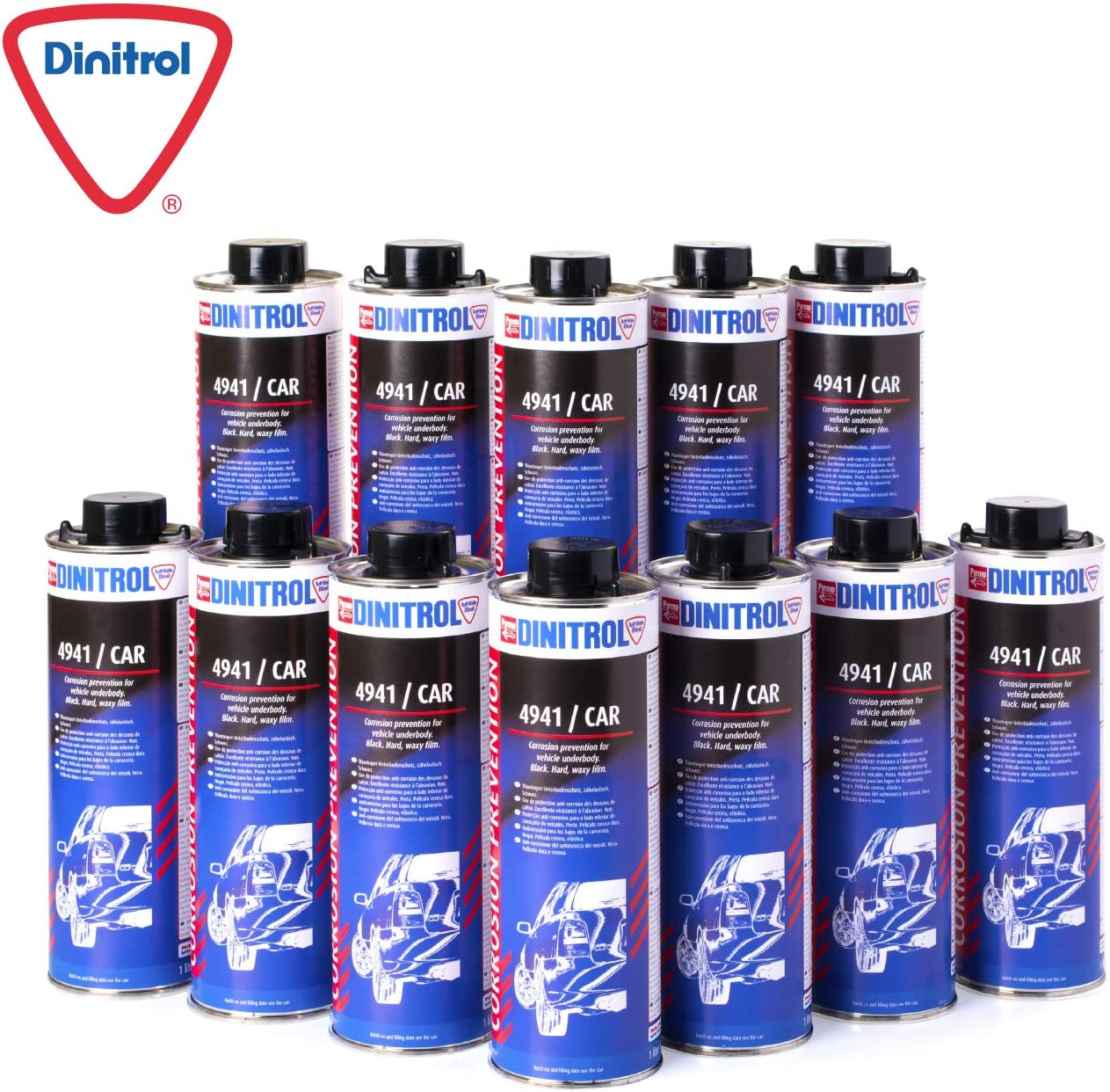 Dinitrol 4941 Schwarze Unterboden Chassis Selbstheilende Wachsschutzbeschichtung 12 X 1 Liter Kanister Schutzart Schraubverschluss Auto