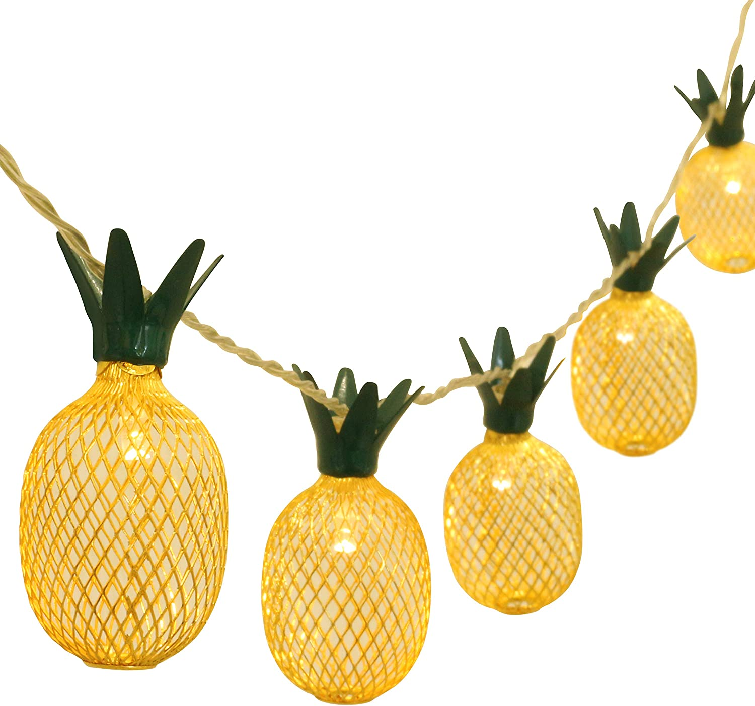 GIGALUMI Pineapple String Lights 6ft 10 LED Fairy String Lights Battery Operated for Christmas Home Wedding Party Bedroom Birthday Decoration