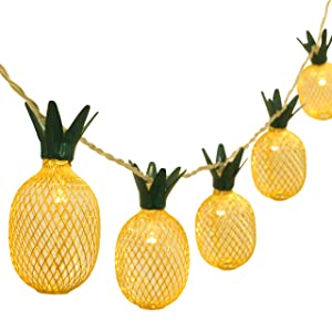Betus 6.5 Ft 10 LEDs Pineapple Fairy String Light - Decor Gifts Battery Operated for DIY Christmas Tropical Theme Party Festival Home Party Bedroom Birthday Decoration (Warm White)