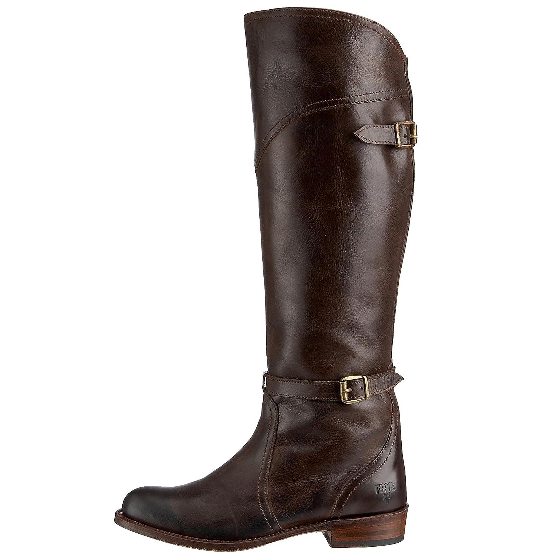 FRYE Women's Dorado Buckle Riding Boot B000X5NQMG 7.5 B(M) US Dark Brown Full Grain-77561