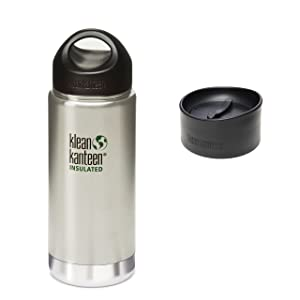 16 OZ. Klean Kanteen Wide Mouth Vacuum Insulated Water Bottle with Loop Cap AND CAFE CAP - Brushed Stainless Steel