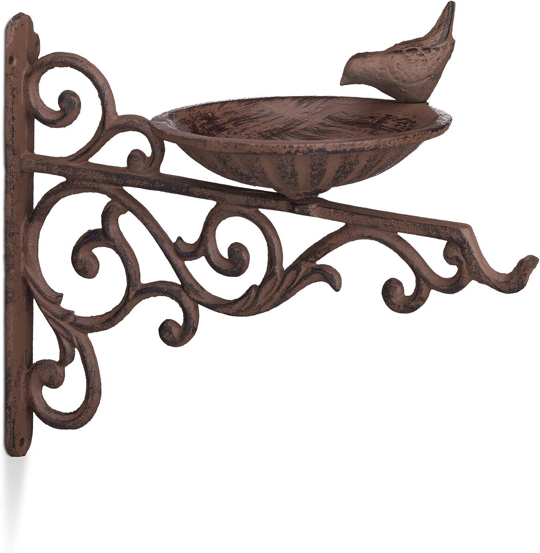 Relaxdays, Marrón Bebedero Pájaros para Pared, Comedero Aves Silvestres, Decoración Jardín, Hierro Fundido, 24x28x14 cm