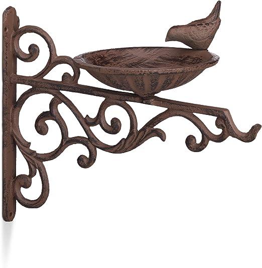 Relaxdays, Marrón Bebedero Pájaros para Pared, Comedero Aves Silvestres, Decoración Jardín, Hierro Fundido, 24x28x14 cm: Amazon.es: Jardín