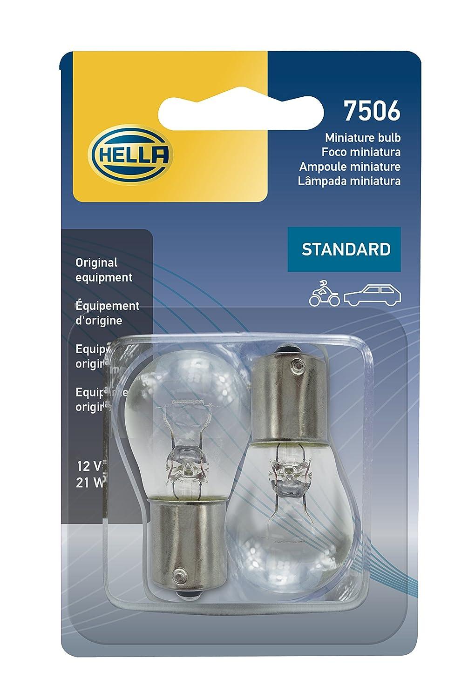 HELLA 7506TB Standard-21W Standard Miniature 7506 Bulbs, 12V, 21W, 2 Pack