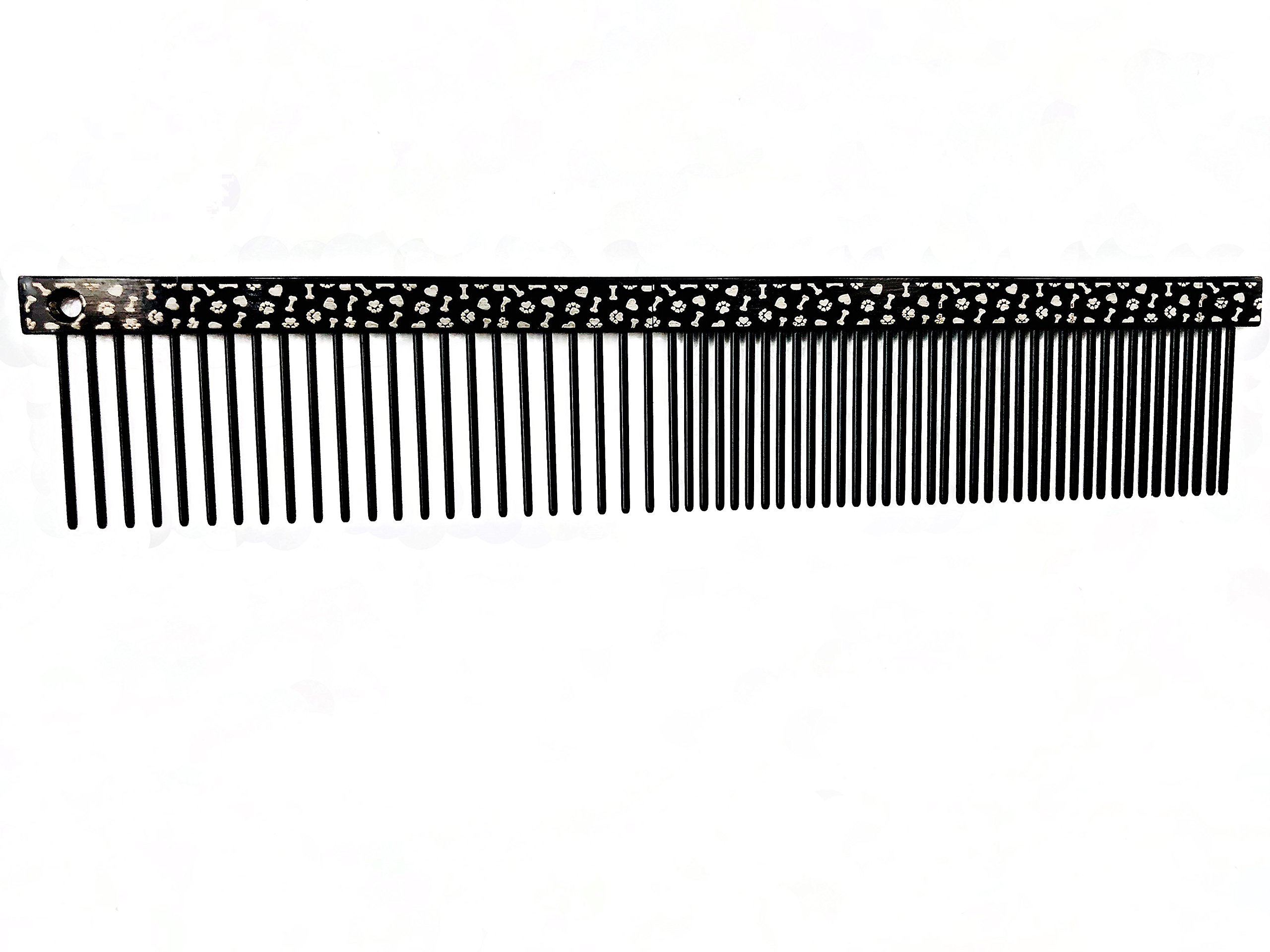 ShearsDirect Black Paw and Bone 6'' Comb with Med/Fine Teeth