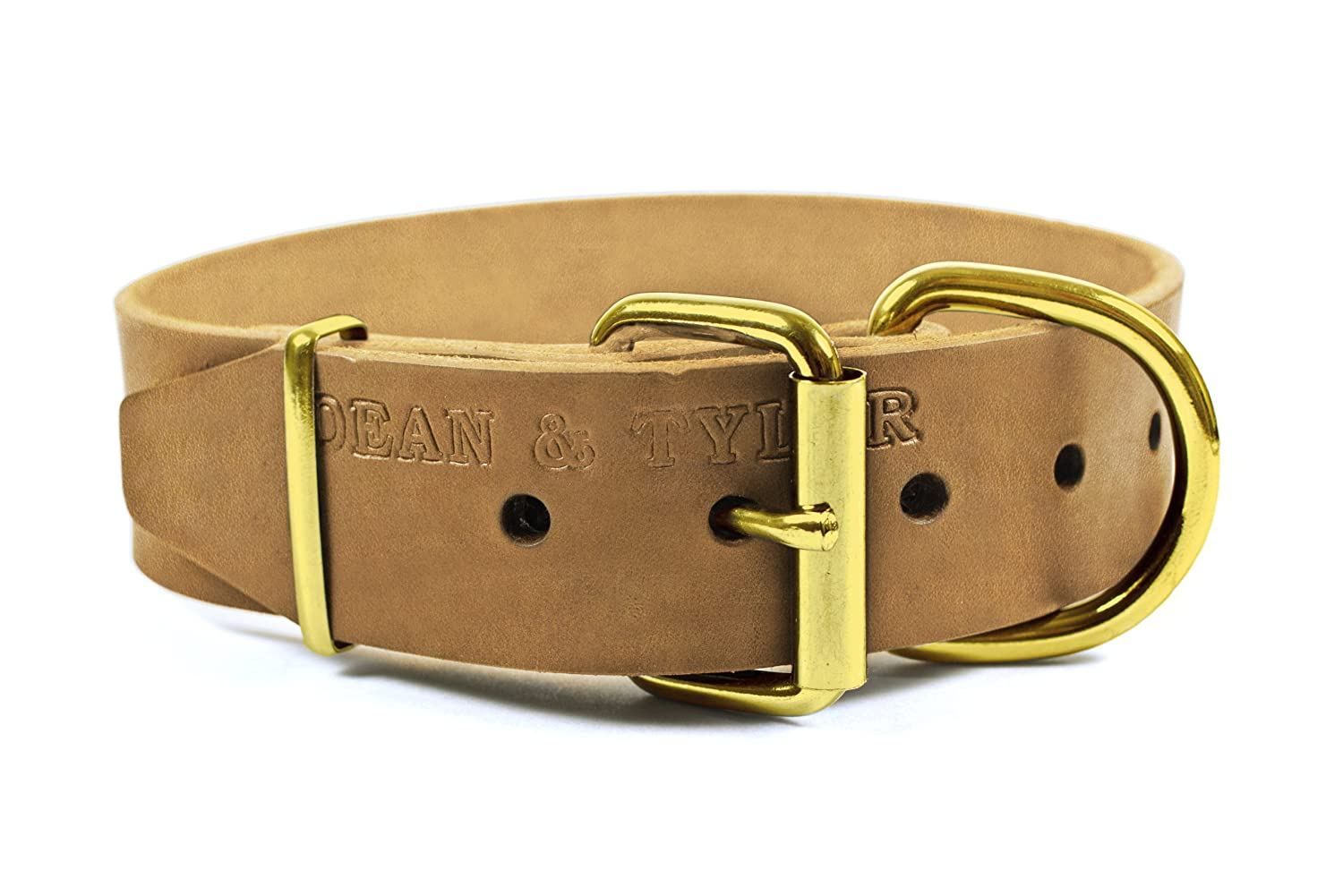 Dean and Tyler B and B , Basic Leather Dog Collar with Solid Brass Hardware Tan Size 18-Inch by 1-1 2-Inch Fits Neck 16-Inch to 20-Inch