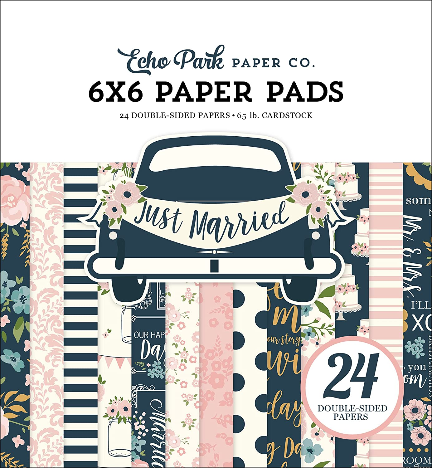 Gold Navy Teal Echo Park Paper Company JM153023 Just Married Paper Pad Pink Coral Cream