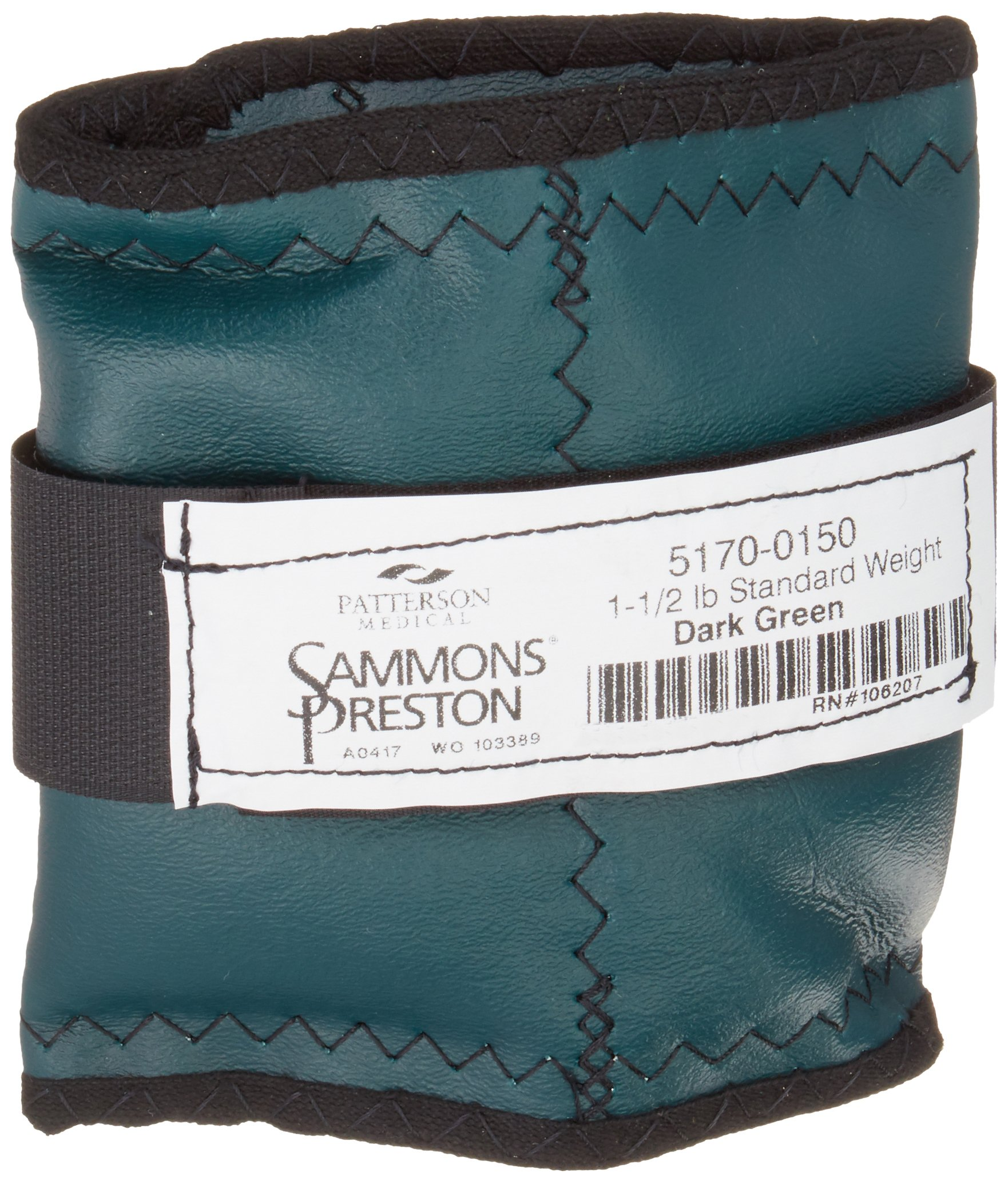 Sammons Preston Cuff Weight, 1.5 lb, Dark Green,Strap & D-Ring Closure, Grommet for Easy Hanging, Steel Ankle & Wrist Weights are Lead Free, Exercise Tool for Strength Building & Injury Rehab