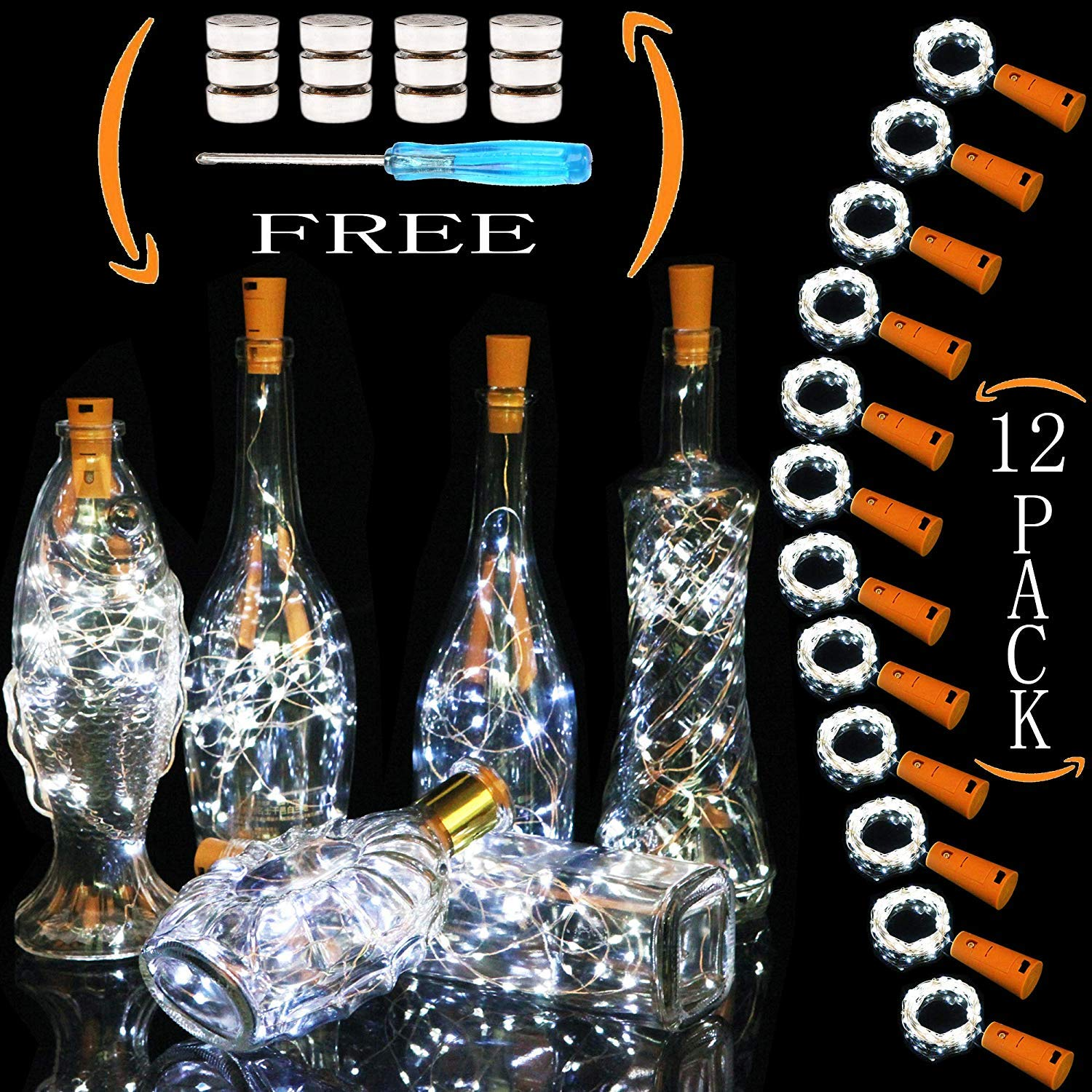 Wine Bottle Lights 12 Pack with Cork 20 LED Lamp Beads Battery Powered The Copper Wire is 6.56 Feet Long Used for Placing Wine Bottles for Decoration and Lighting (Cool White)