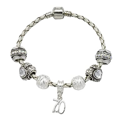 690e836f9 70th Birthday Cream Leather Charm Bracelet for Women with Gift Box (19)  Amazon.