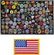 Tactical Patch Display Panel Holder Board for Military Army Combat Morale Uniform Hook and Loop Emblems, 43 Inches x 27.5 Inches (Large), with 1 Flag Patch Included