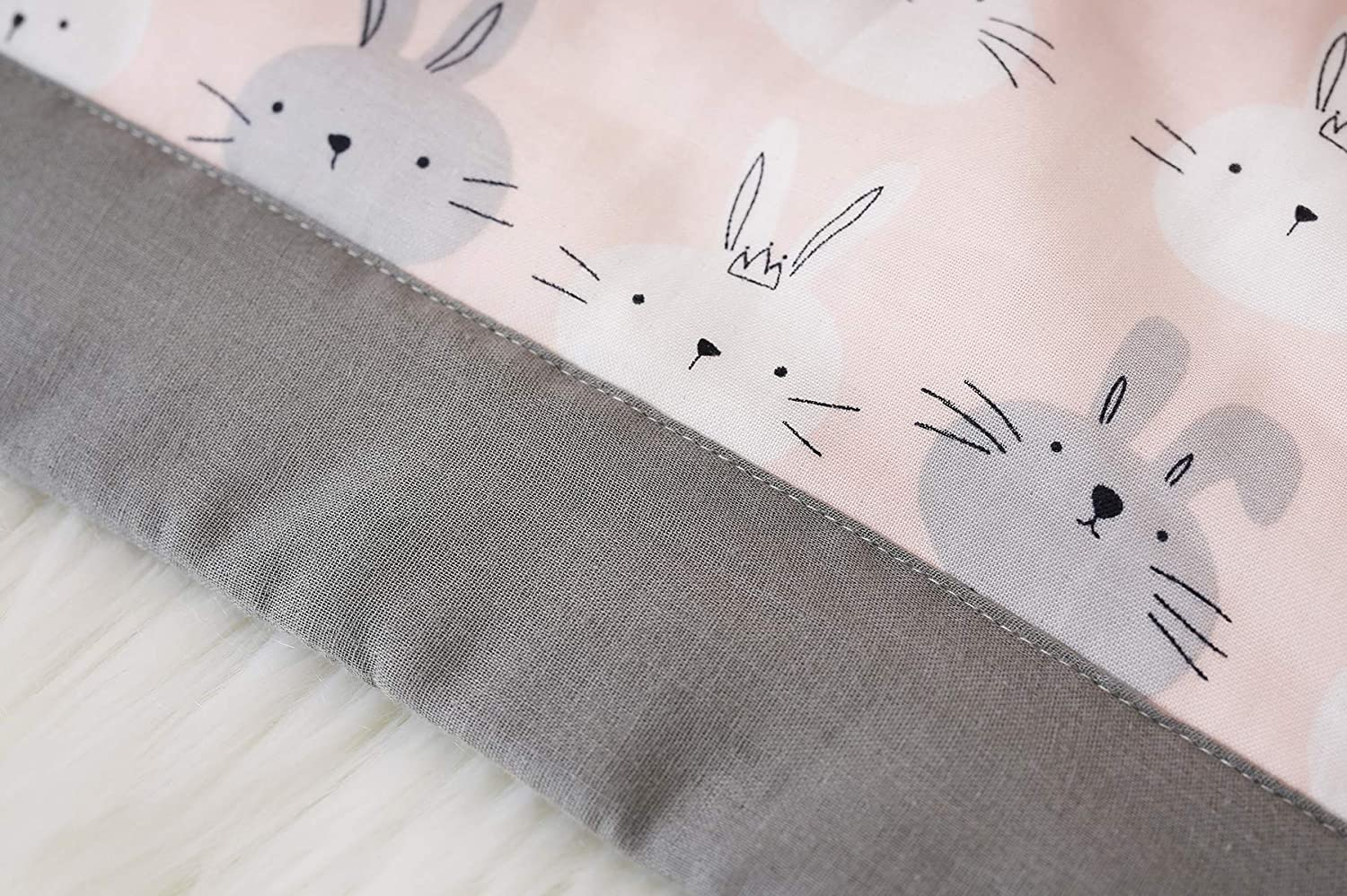 1PC,#5 White Grey Black Cartoon Bunny Pattern Omelas Baby Toddler Animal Rubbit Nursery Muslin Organic Cotton Pillowcase Pink Allergy-Free Soft Daycare Infants Crib Pillow Protector Cover 13x18in
