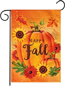 Besteek Fall Garden Flag, Pumpkins Happy Fall Garden Flag Double Sided Fall Flag, Autumn Sunflowers Leaves Thanksgiving Garden Flag Yard Decorations 12.5 x18 Inch