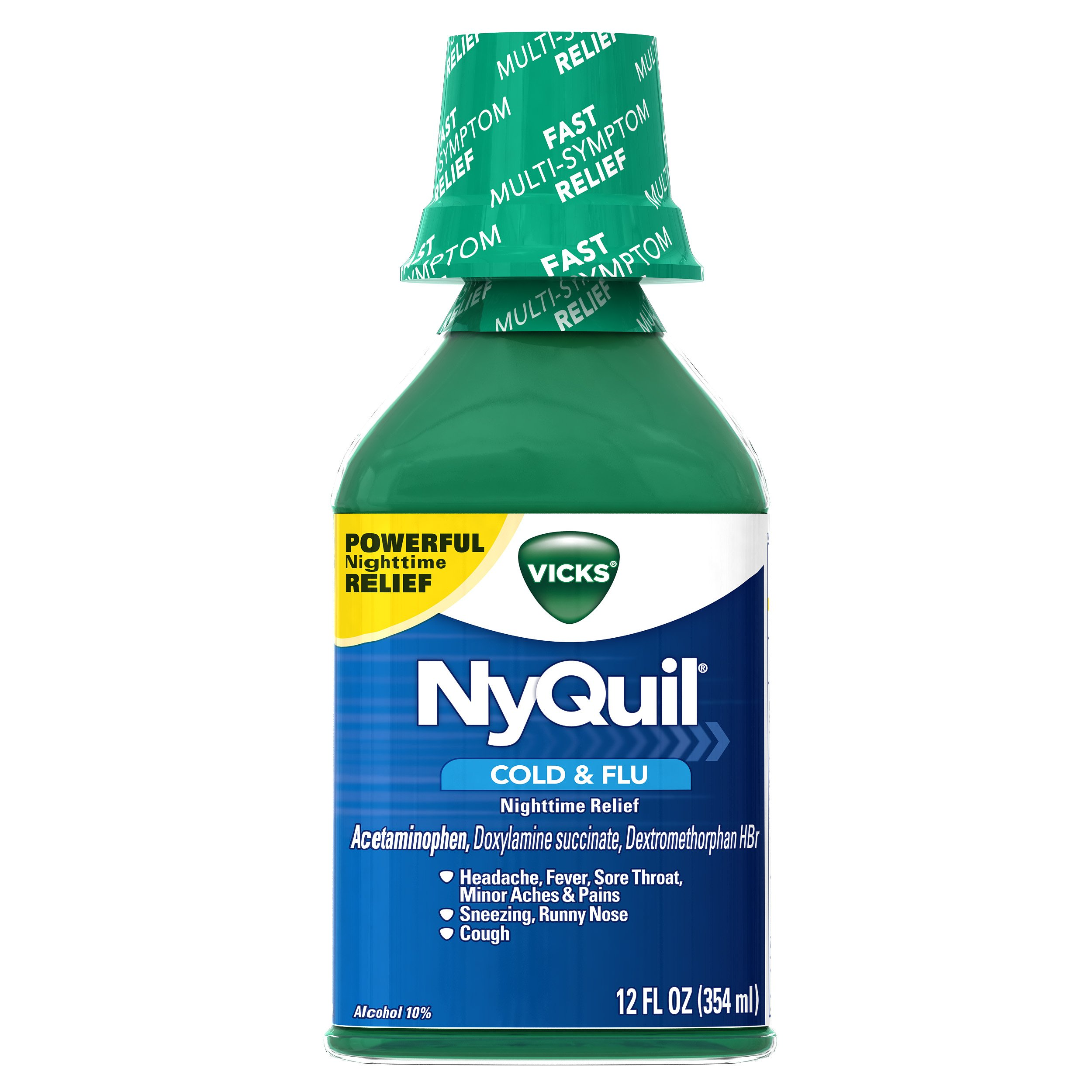 Vicks NyQuil Cold & Flu Nighttime Relief Original Flavor Liquid 12 fl oz (Pack of 12)
