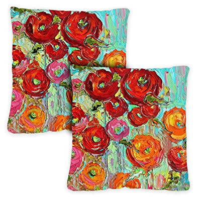 Toland Home Garden 761216 Fabulous Flowers 18 x 18 Inch Indoor/Outdoor, Pillow Case (2-Pack) : Garden & Outdoor