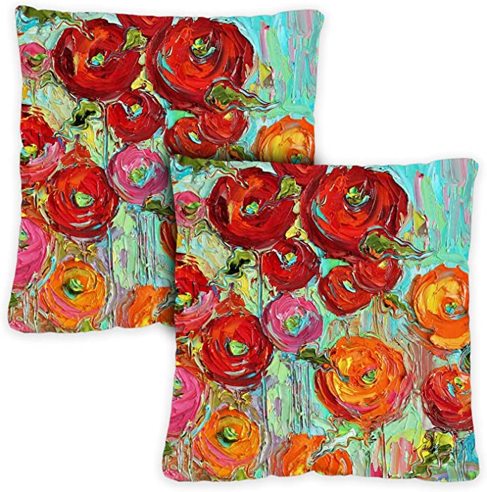 Toland Home Garden 721216 Fabulous Flowers 18 x 18 Inch Indoor/Outdoor, Pillow with Insert (2-Pack)