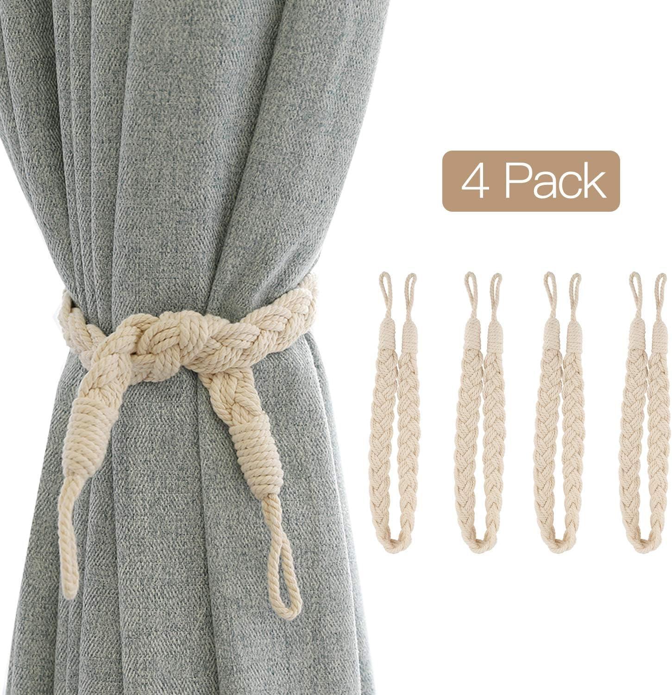PRAVIVE Curtain Tie Rope Tiebacks Simple Decorative Braided Satin Rope Holdbacks//Holders for Window Curtain//Drapes Beige 4 PCS