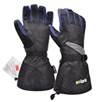 Solaris Waterproof Ski Gloves Warm Thermal Snowboard Cycling Snowmobile Winter Gloves 3M Insulation with Adjustable Windproof Cuffs