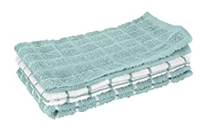 """Ritz 100% Cotton Terry Kitchen Dish Towels, Highly Absorbent, 25"""" x 15"""", 3-Pack, Dew"""