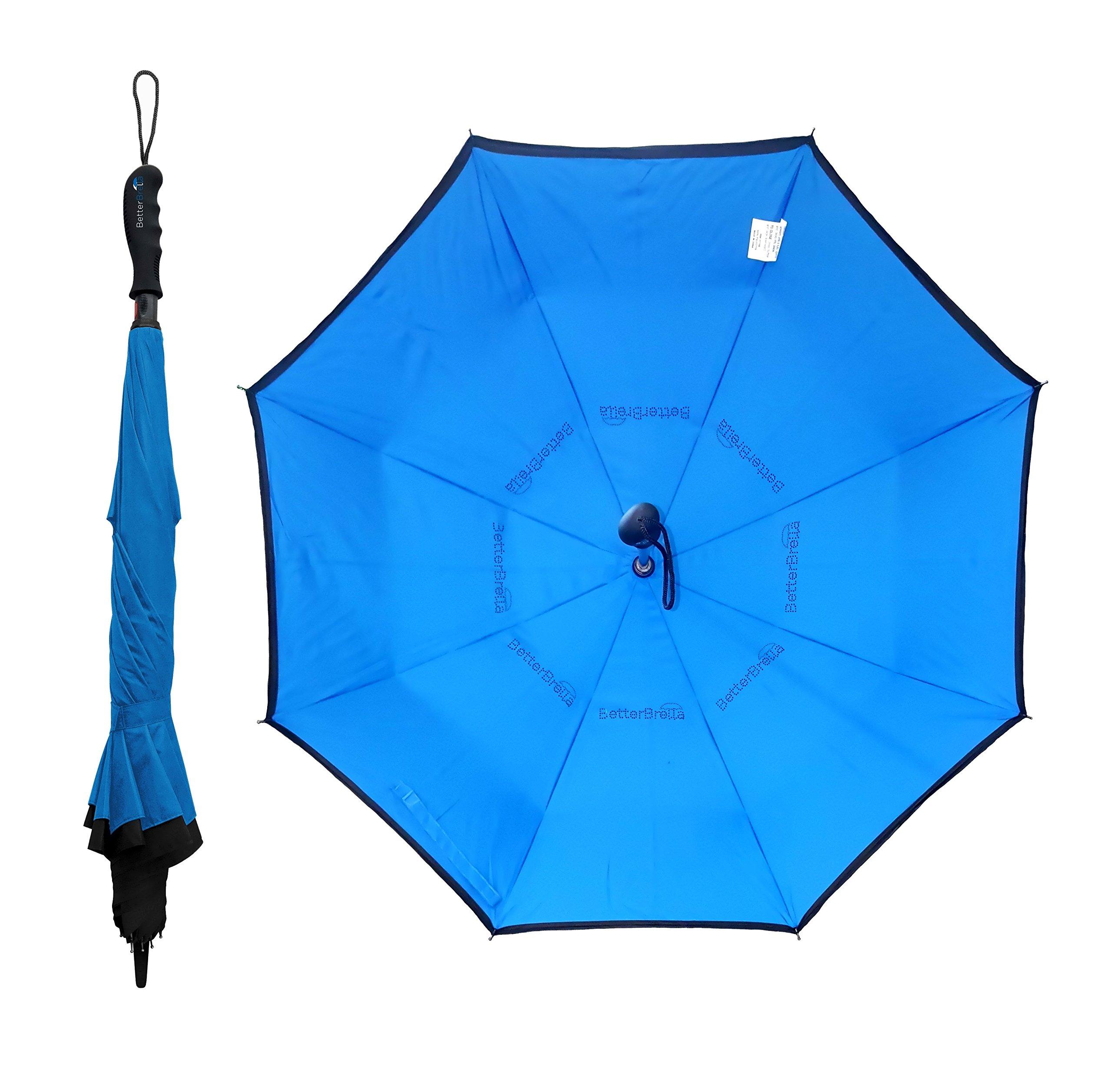 BETTERBRELLA Wind-Proof, Reverse Open, Upside Down 41.5'' Wide Umbrella ... (Blue) by BETTERBRELLA