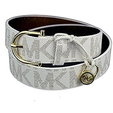 b774eba30408 Amazon.com  Michael Kors Womens Belt White Faux Leather Gold-Tone Charm Size  XL  Clothing