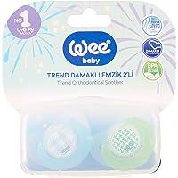 Wee Baby 2'li Trend Damaklı Emzik No:1 (Saklama Kabı Hediyeli) - MAVİ