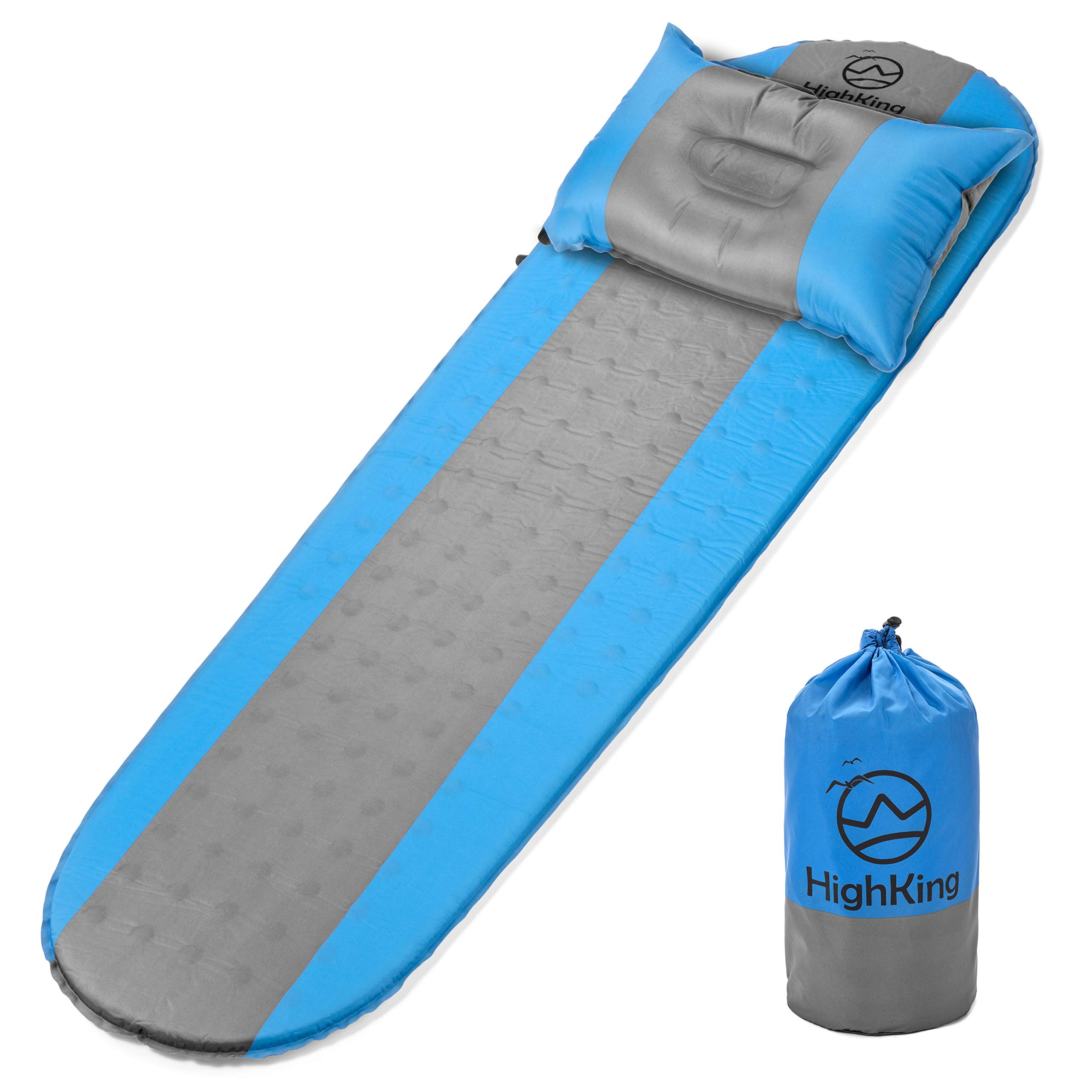 Self Inflating Sleeping Pad - Inflatable Sleeping Mat Perfect for Outdoor Adventures, Backpacking, Camping - Comfortable Ultralight Sleeping Pad Mattress with Carrying Bag + Bonus Pillow by HighKing by HighKing‎