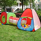 Tech Traders ® Children's, Kids Pop Up Play Tent and Tunnel Set -Foldable Pop up Kids Toddler Play Tent for Boys, Girls, Babies and Toddlers Indoor Outdoor Use with Tunnel and Ball Pit and Zippered Storage Bag - Red/Blue/Green