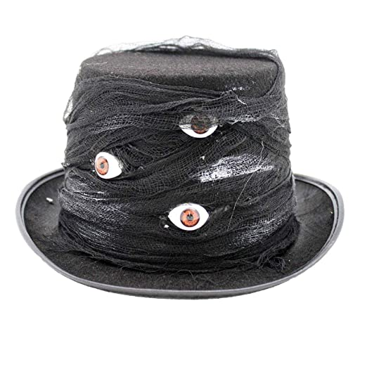88e6d9ccb928c Amazon.com  Unisex Top Hat with Light Up Eyes (Black)  Clothing