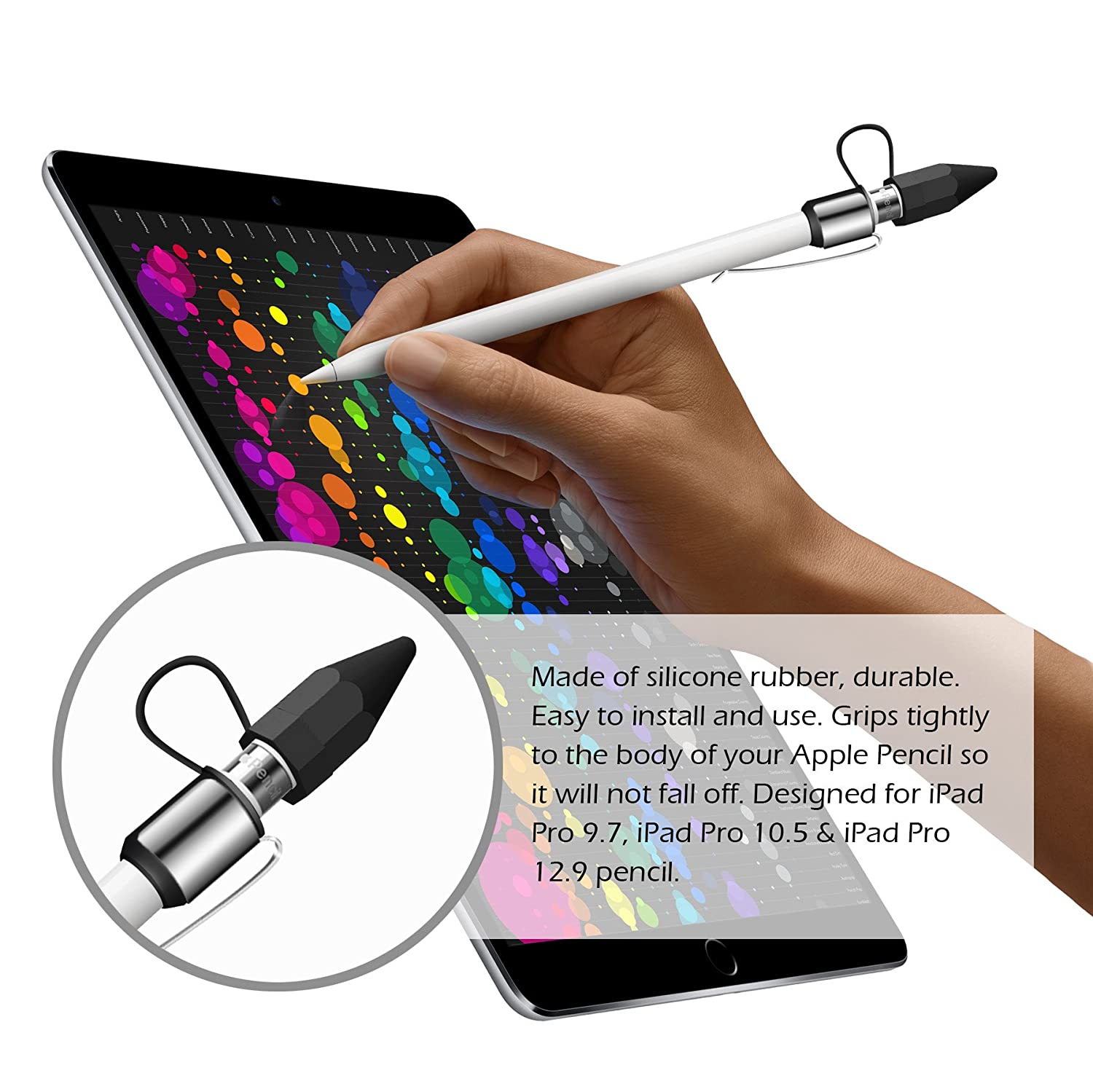 Bepack Apple Pencil Cap 4-pieces Stylus Pen Protective case Holder with Hook//Nib Cover//Lightning Cable Adapter Tether for iPad Pro Pencil