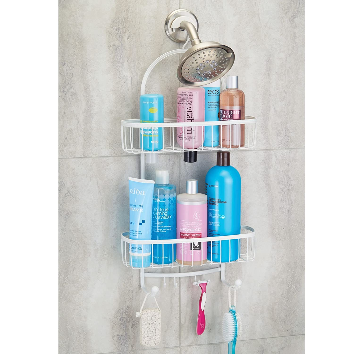 Amazon.com: mDesign Bathroom Tub & Shower Caddy, Hanging Storage ...