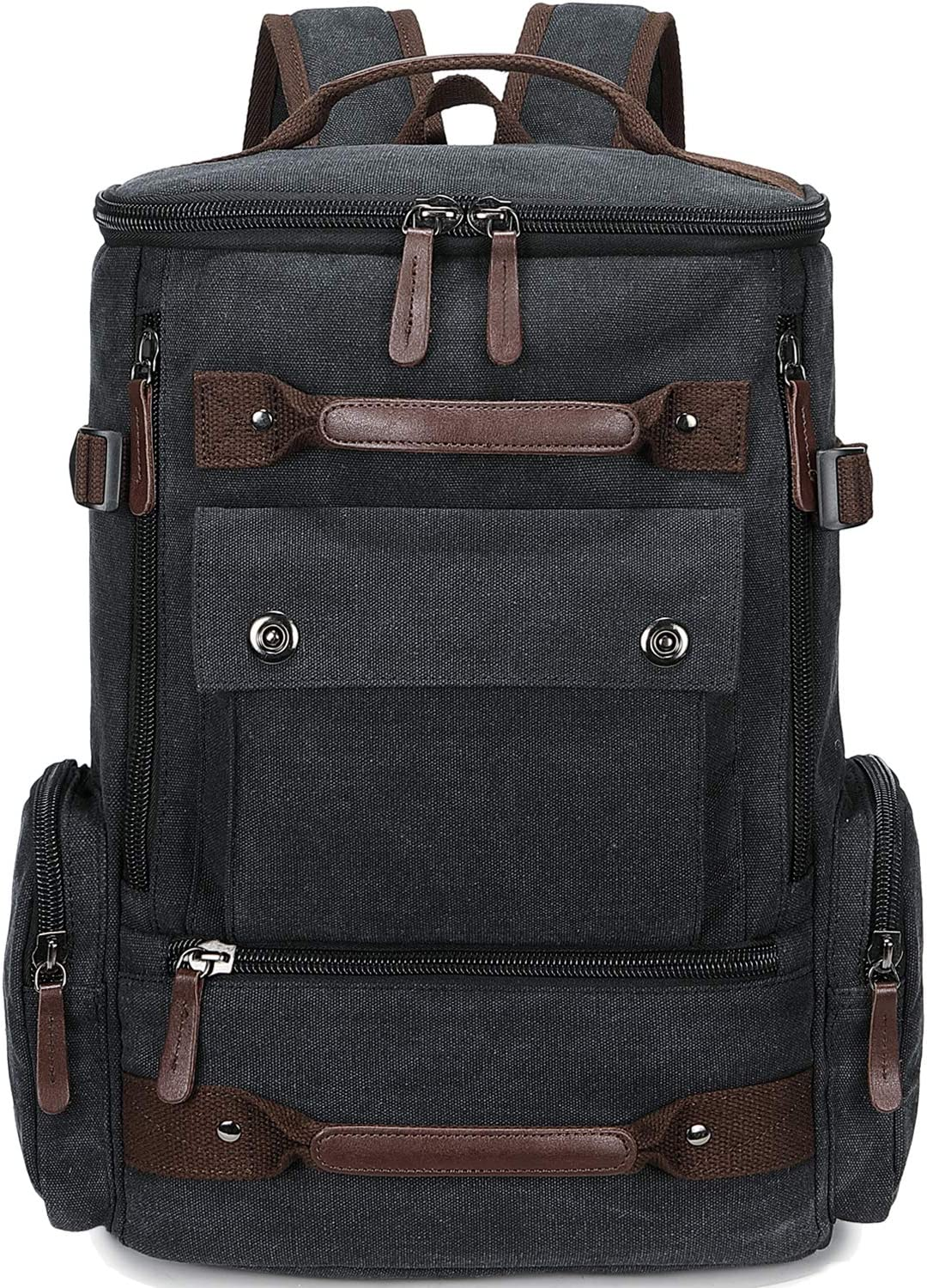 School Backpack Vintage Canvas Laptop Backpacks Men Women Rucksack Bookbags (Black-8688)