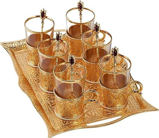 Juego de 6 tazas de t/é dise/ño de crital con adornor dorados
