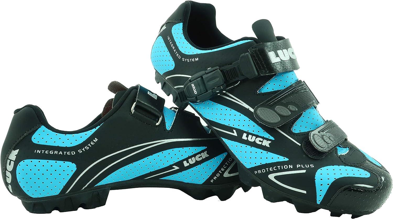 zapatilla de ciclismo LUCK TEAM REVOLUTION MTB , con suela de carbono y cierre milimétrico de precisión.(48 EU , azul): Amazon.es: Zapatos y complementos
