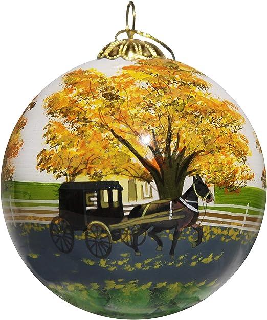 Amazon Com Art Studio Company Hand Painted Glass Christmas Ornament Amish Buggy Lancaster Pa Home Kitchen