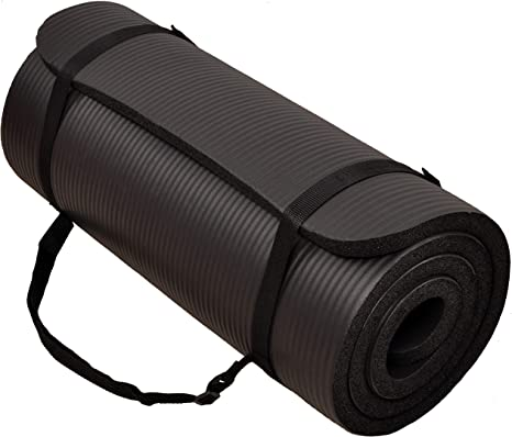 Amazon Com Balancefrom Gocloud All Purpose 1 Inch Extra Thick High Density Anti Tear Exercise Yoga Mat With Carrying Strap Black 71 Long 24 Wide Sports Outdoors