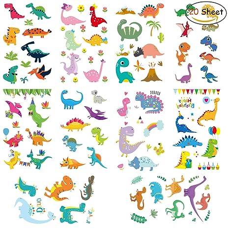 Clerfy Acc 500 Pcs DinosauriosTatuajes temporales Falso Tatuajes Pegatinas para Niños Niñas Fiestas Infantiles Dinosaurios Cumpleaños de Niños Regalo ...
