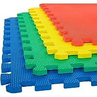 Ehomekart - EVA Kid's Interlocking Play Mat - 12 mm Thickness - Set of 8 Tiles - 60 cm x 60 cm Each Tile - 32 Square Feet Total Area