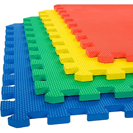 eHomeKart EVA Interlocking Floor Foam Play Mat for Kids (Multicolor, 60 x 60 cm x 12 mm Thick Each Tile) - Set of 16 Pieces
