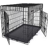 SONGMICS Jaula metálica para Perros Transportín Plegable para Mascotas Negro XL 91 x 58 x 64 cm PPD36H