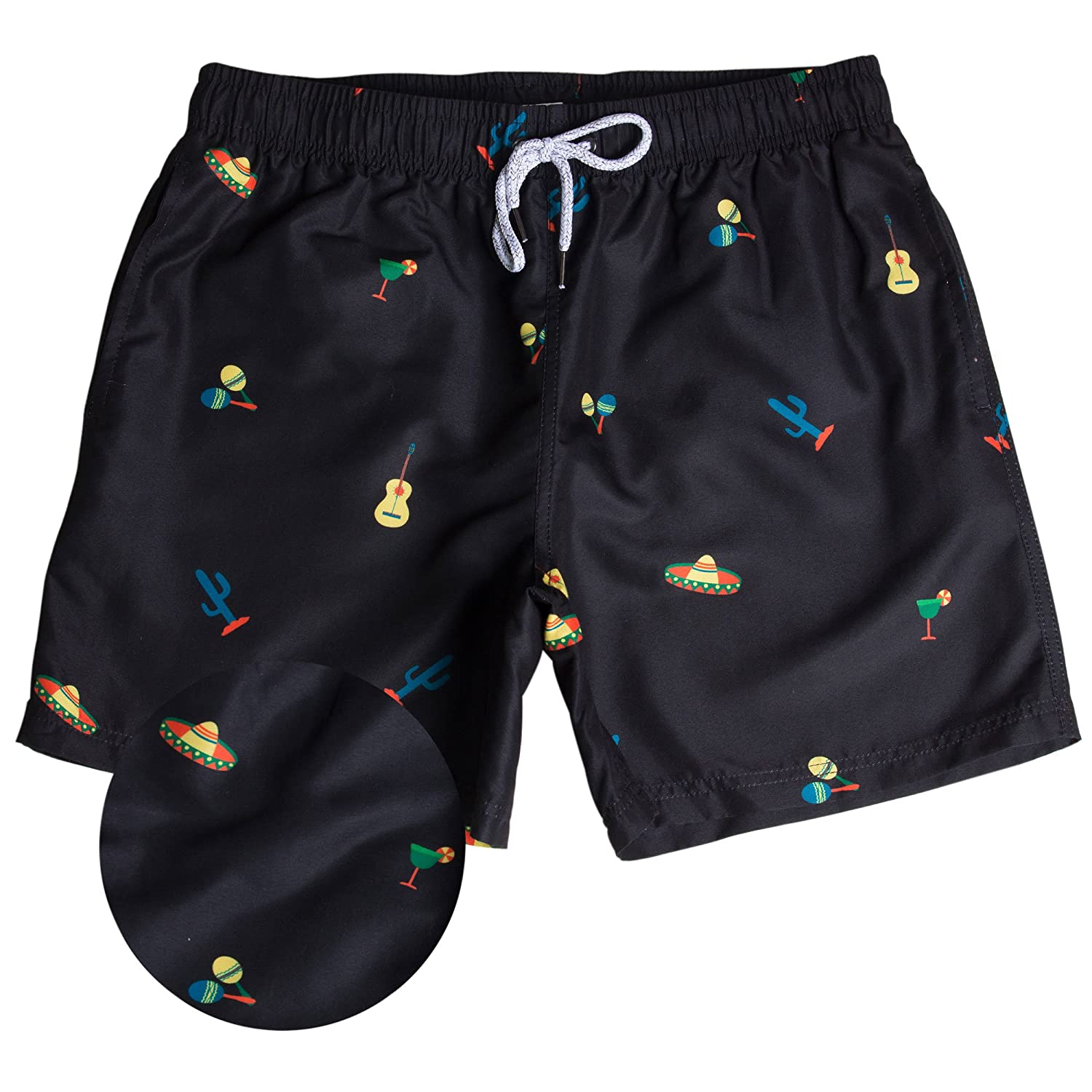 9f2223965d FABRIC - Our swim trunks are made out of 100% Polyester quick dry material.  Each short is printed with a unique fun print and inner mesh liner.