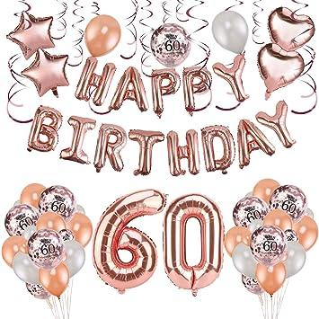 HOWAF Decoración de cumpleaños 60 en Oro Rosa para Mujeres ...