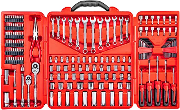 190-Piece Professional Hand Tool Box Kit w//Screwdrivers for Mechanical Bits Ratchets Industrial /& Home Etc Sockets Hard Storage Case RightHand Mechanics Tool Set Hex Key Wrenches Pliers